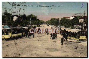 Old Postcard Marseille Prado Seen from the Beach Trams