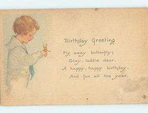 Pre-Linen signed BUTTERFLY LANDS ON HAND OF CHILD HJ4148