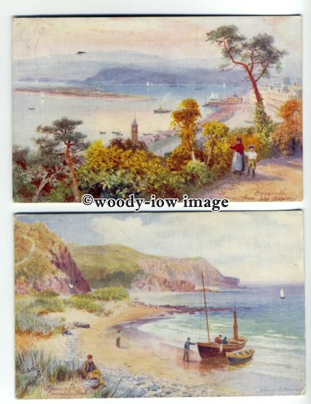 ar0436 - Coastal Views/Exmouth - Artist - Wimbush - 2 Postcards - Tuck's No.7369