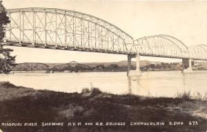 Chamberlain South Dakota~Missouri River Showing AYP & RR Bridges~1930s RPPC