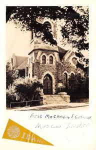 Moscow Idaho~First Methodist Church~College Pennant Sticker~1940s RPPC