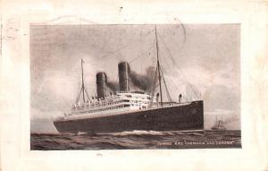 White Star Line Cunard Ship Post Card, Old Vintage Antique Postcard RMS Carma...