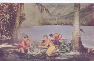 Preparing Hawaiian Luau, Hawaii, 1940-1960s