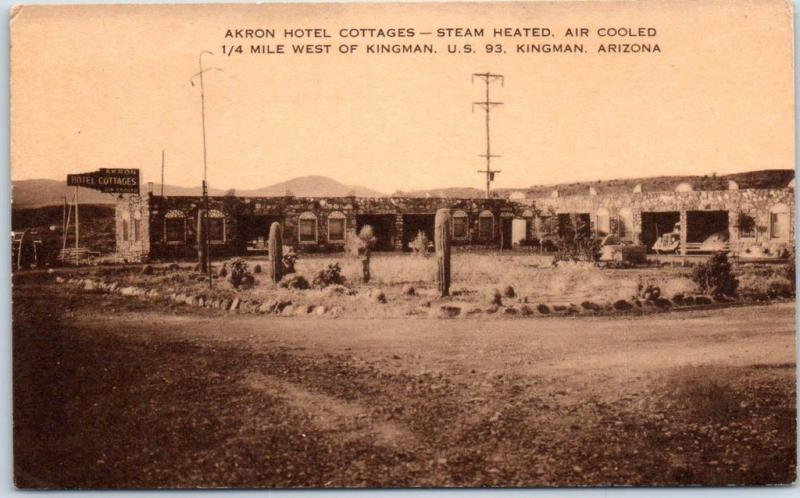 Kingman, Arizona Postcard AKRON HOTEL COTTAGES Highway 93 Roadside Artvue c1940s