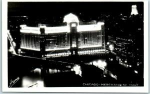 Chicago, IL RPPC Photo Postcard MERCHANDISE MART Aerial View at Night 1931