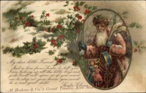 Christmas - Old World Santa Claus Hahne & Co 12 Acre Store Overprint Adv PC