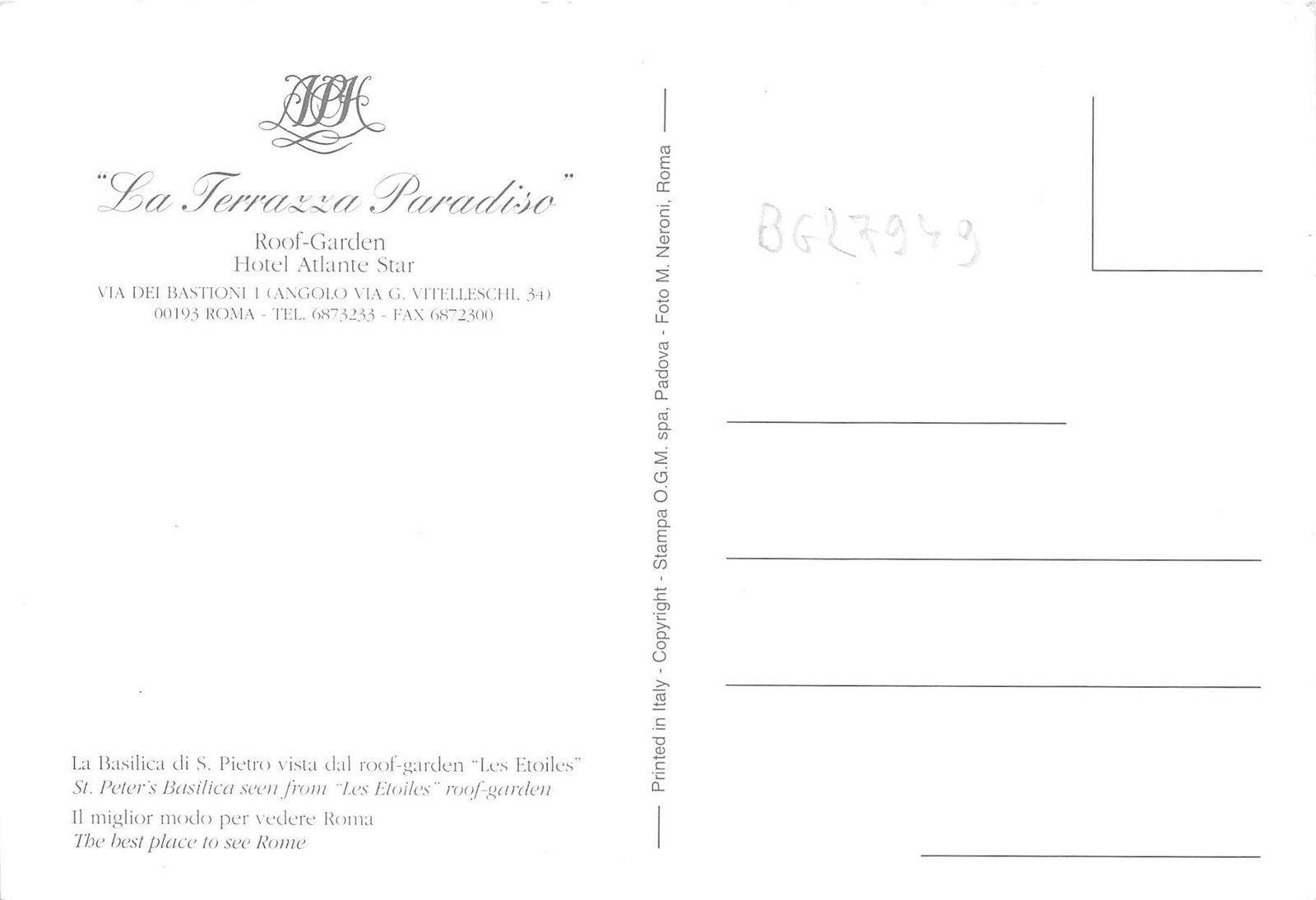 Bg27949 Hotel Atlante Star Il Fasino Di Roma Italy Hippostcard
