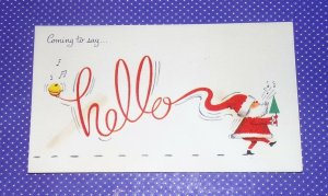 Vtg Christmas Card Santa Coming To Say Hello Merry Xmas Happy New Year #225