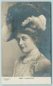 Mary Mannering~Victorian London~English Stage Actress~Big Feather Hat~1905 RPPC