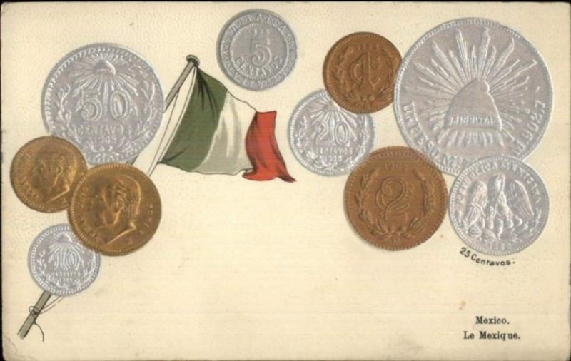 Mexico Coins Money Curreny Embossed on c1910 Postcard - Used