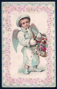 Boy Angel in Winter Clothes & Flowers Used 1907