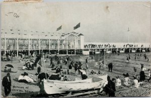 Bathing at Crystal Beach ON Ontario c1908 Quebec Centennial Stamp Postcard F83
