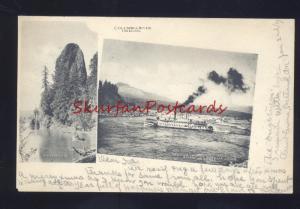 COLUMBIA RIVER OREGON RIVERBOAT STEAMER MULTI VIEW VINTAGE POSTCARD 1904