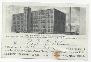MONTREAL , Quebec , 1900-10s; Cluett, Peabody & Co. Factory  at St. John