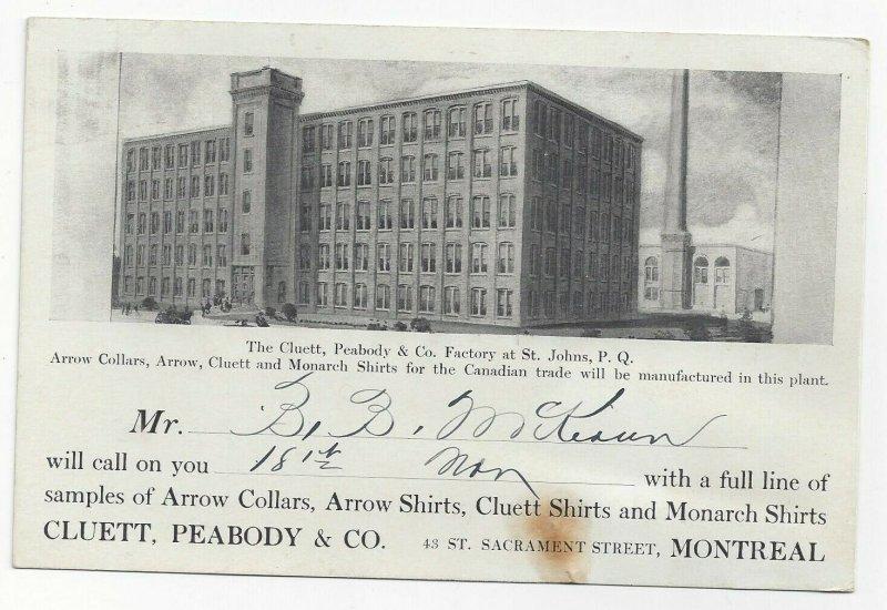 MONTREAL , Quebec , 1900-10s; Cluett, Peabody & Co. Factory  at St. John
