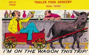VEGA, TX, 1950s; I'm On The Wagon This Trip, Man & Donkey, Trailer Park Grocery