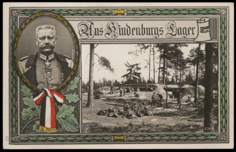 Germany WWI General von Hindenburg Lager Patriotic  RPPC 70113