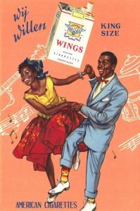 Wings Cigarettes Advertising Black Couple Dancing Artist Signed Postcard
