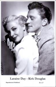 Actor Actress Duo SWIFTSURE 2000 - Postcard LARAINE DAY & KIRK DOUGLAS