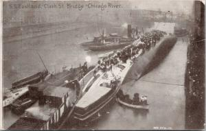SS Eastland Sinks Ship Clark St. Bridge Chicago Illinois Max Stein Postcard E55