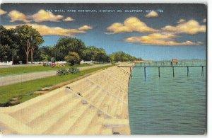Sea Wall, Pass Christian -  Highway 90, Gulfport, MS - 1940s Linen Postcard