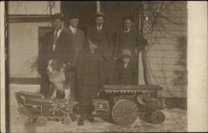 Men & Boys w/ Toy Homemade? Train & Wagon c1910 Real Photo Postcard