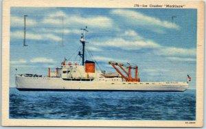 Vintage Michigan Steamship Postcard Ice Crusher Mackinaw Linen w/ 1956 Cancel