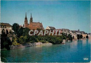 Postcard Modern Basel (Switzerland) view of the Rhine and the Cathedral
