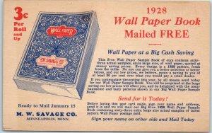 Vintage Mail Order Advertising Postcard M.W. SAVAGE 1928 Wall Paper Book Unused