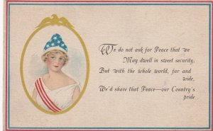 Young Blond wearing red, white & blue in gold frame, Patriotic Poem, 1900-10s