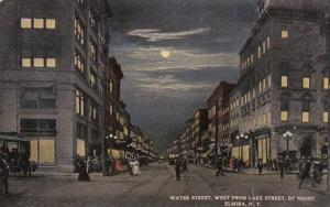 New York Elmira Water Street Looking West From Lake Street By Night