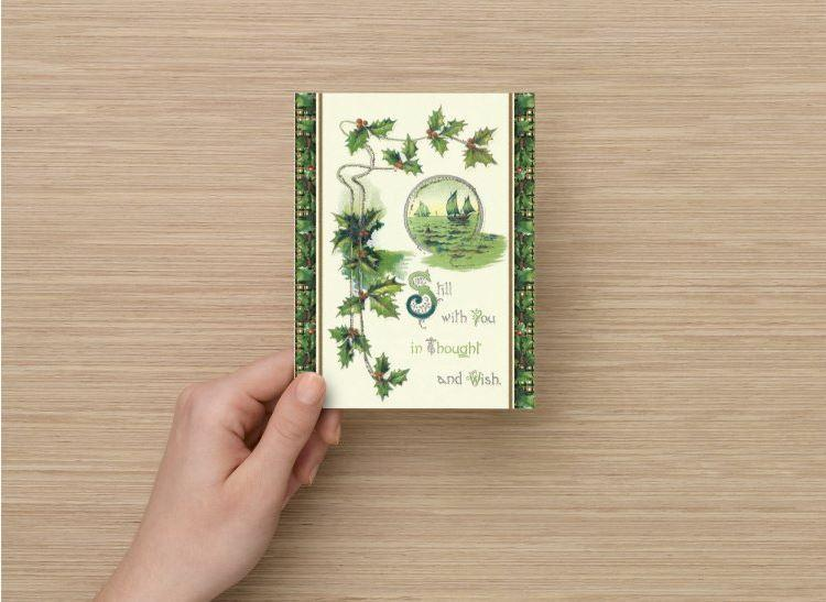 12 Christmas Postcards, Sailors Christmas in Key Lime Green Plaid with Holly