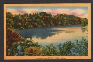 ME Greetings from KINGFIELD MAINE Postcard Linen PC