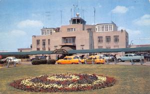 Memphis Tennessee~Municipal Airport~Close Up Control Tower~Taxi Cabs~1950s Cars