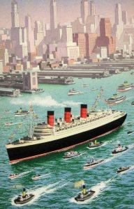 Queen Mary Ship in New York 1971 Ladybird Book Painting Postcard