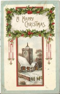 Country Christmas in a Snow covered Winter Church Scene Vintage Postcard