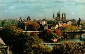 CPM PARIS Couleurs de PARIS Panorama sur Notre-Dame et la Cité (305175)