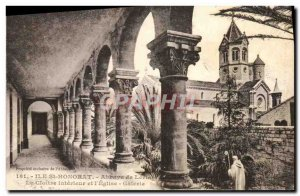 Old Postcard Ile St Honorat Abbaye de Lerins The interior cloister and & # 39...