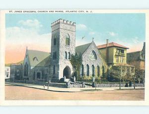 Unused W-Border CHURCH SCENE Atlantic City New Jersey NJ L4935