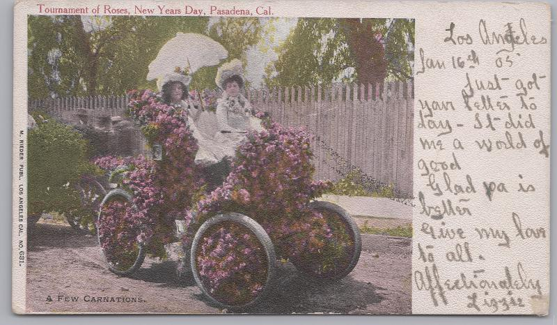 Pasadena, Calif., Tournament of Roses A few carnations on a vintage car - 1905