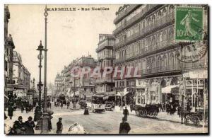 Marseille - Rue Noailles - horse - tram - Old Postcard