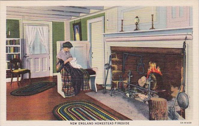 Massachusetts New England Homestead Fireside Curteich