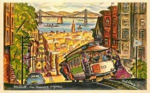 Atop Knop Hill Lewey San Francisco California artist impression Postcard 12356