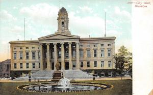 Brooklyn New York~City Hall Building~Statue & Pond in Front Yard~c1905 Postcard