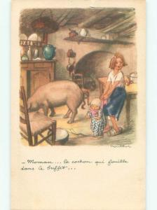 foreign Old Postcard signed PIG INSIDE HOME OF FRENCH PEOPLE AC2814