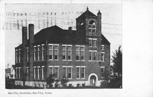 Sac City Iowa Institute Street View Antique Postcard K88621