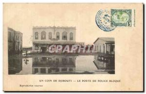 Old Postcard Cote des Somalis Djibouti Police Station blocks