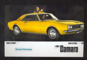 1967 CHEVROLET CAMARO CAR DEALER ADVERTISING POSTCARD '67 CHEVY