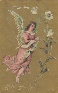 Easter Greetings Angel With Beautiful Flowers