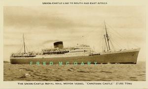 1937 Union Castle Line Postcard: RMMV Capetown Castle, Excellent Condition